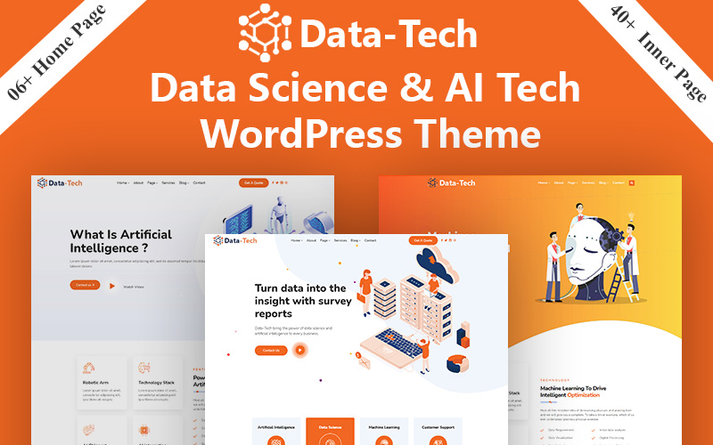 DataTech - Data Science & AI Tech And  IOT WordPress Theme Tema WordPress №170968