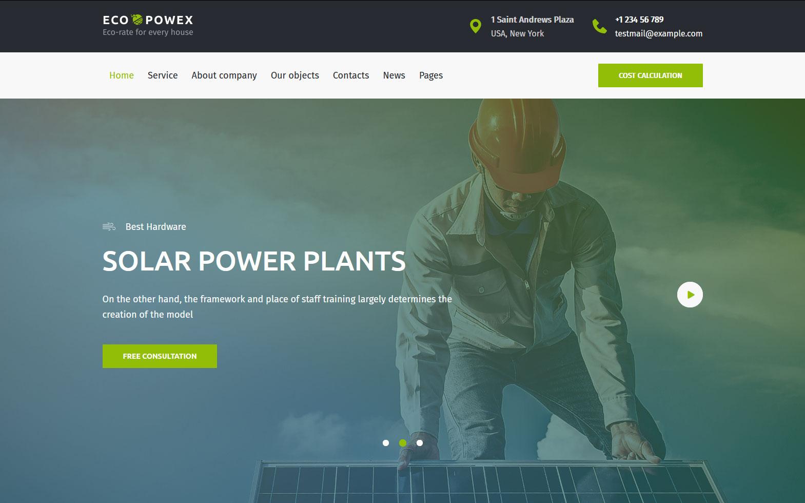 """Ecopowex - solar panels and renewable energy plant WordPress Theme"" WordPress thema №170966"