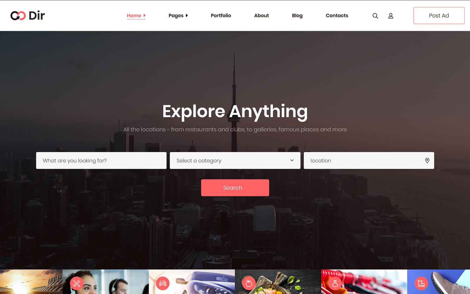 Godir - Business Directory WordPress Theme Tema WordPress №170964