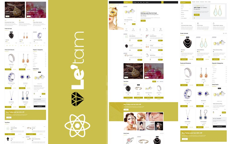 """""""Letam Gold and Jewelry shop React JS Website Template"""" 响应式网页模板 #170976"""