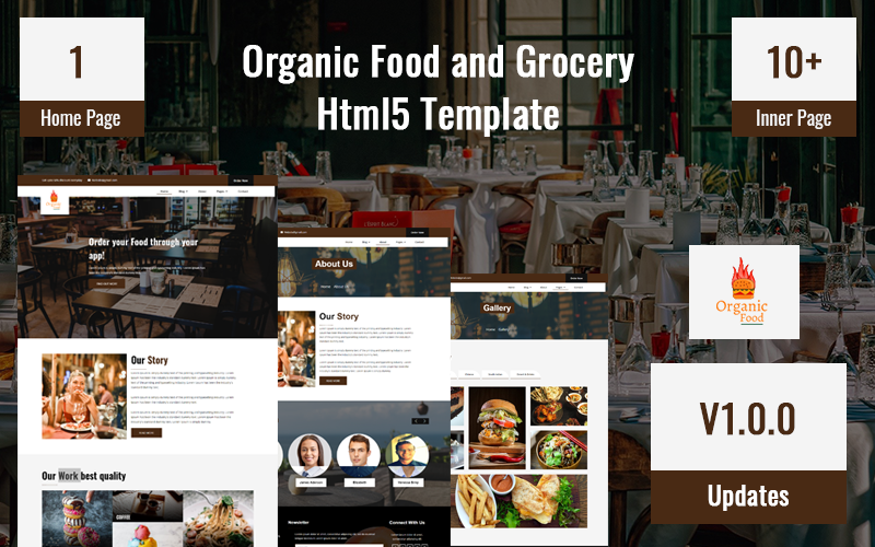 """""""Organic Food and Grocery Html5 Website template"""" 响应式网页模板 #170965"""