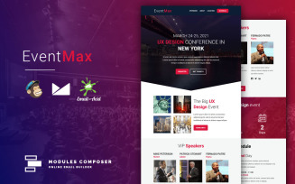 EventMax - Responsive Email for Events & Conferences with Online Builder Newsletter Template