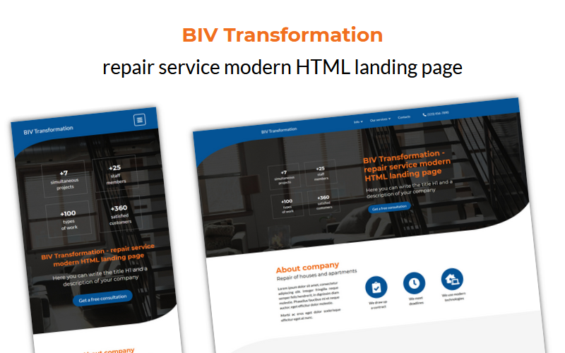 Transformation - repair service HTML landing page template