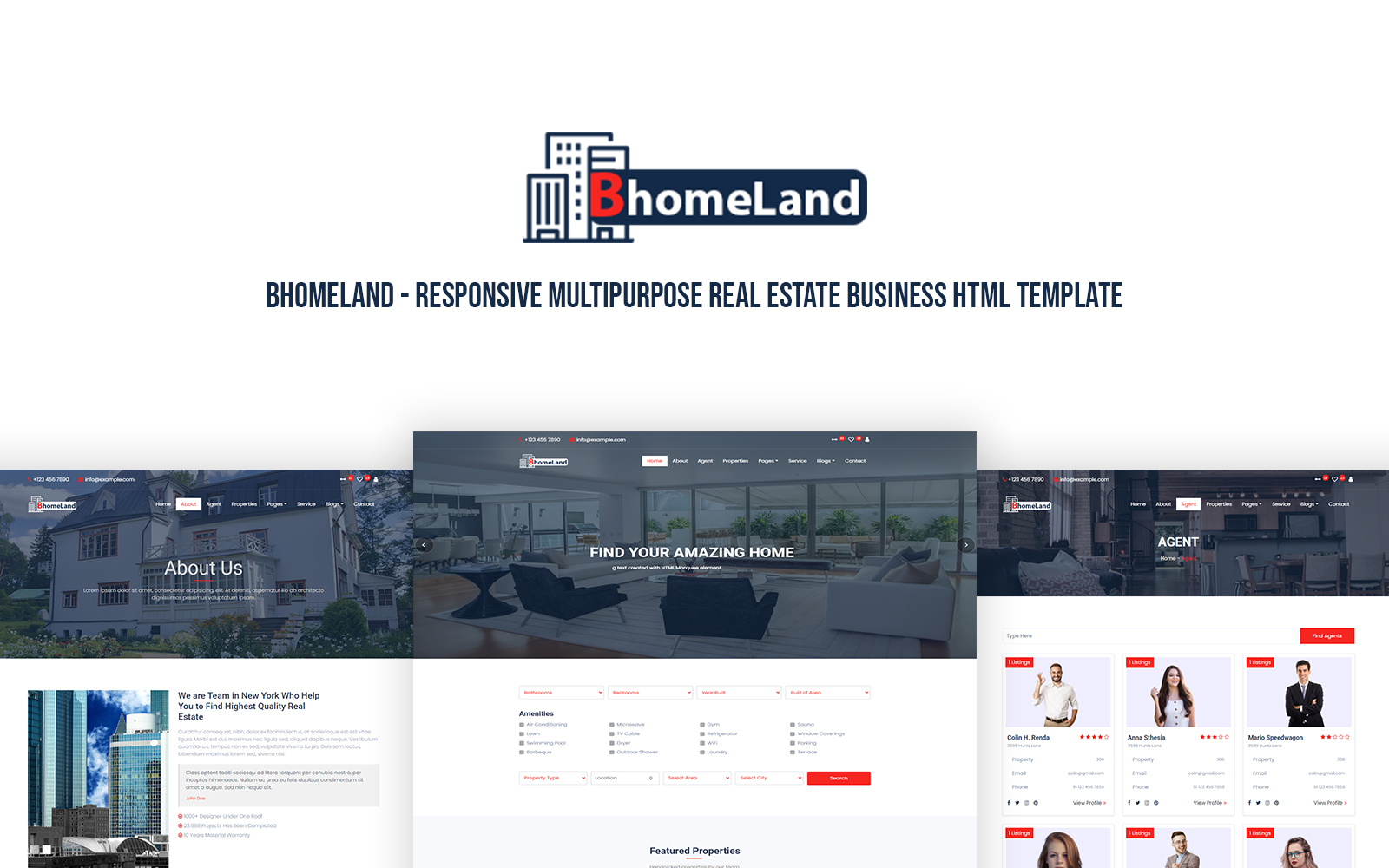 """""""Bhomeland - Responsive Multipurpose Real Estate Business HTML Template"""" 响应式网页模板 #171346"""