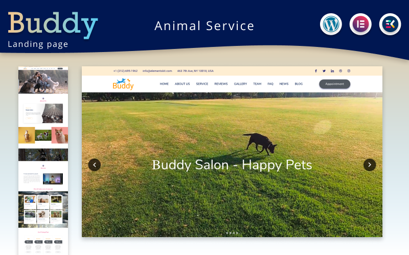 Buddy - Animal Service Elementor Landing page WordPress theme Tema WordPress №171351