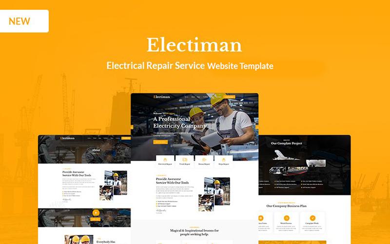 """Electiman - Electrical Repair Service HTML5 Website Template"" 响应式网页模板 #171340"