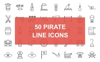 50 Pirate Line Back Icons