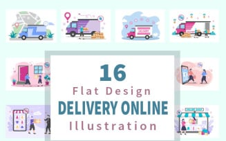 16 Online Delivery Flat - Illustration
