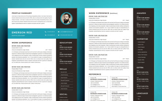 Resume Template Clean Resume CV Template - Emerson Red