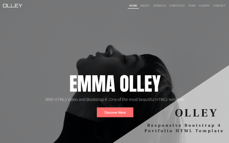 Olley - Responsive Bootstrap 4 One Page Portfolio Landing Page