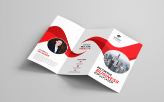Free Red Color Bifold Brochure - Corporate Identity Template