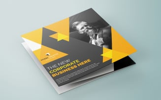Free Triangle Yellow Color Bifold Brochure - Corporate Identity Template