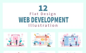 12 Web Development Flat - Illustration