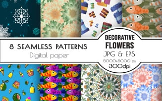 Seamless backgrounds. Flowers, numbers, food, snowflakes, fish.