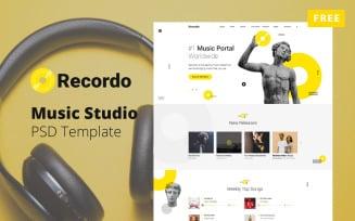 Recordo - Free Music Studio design PSD Template