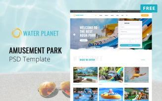 Water Planet - Free Amusement Park Website PSD Template