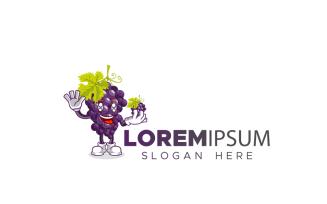 Grape Mascot Logo Template