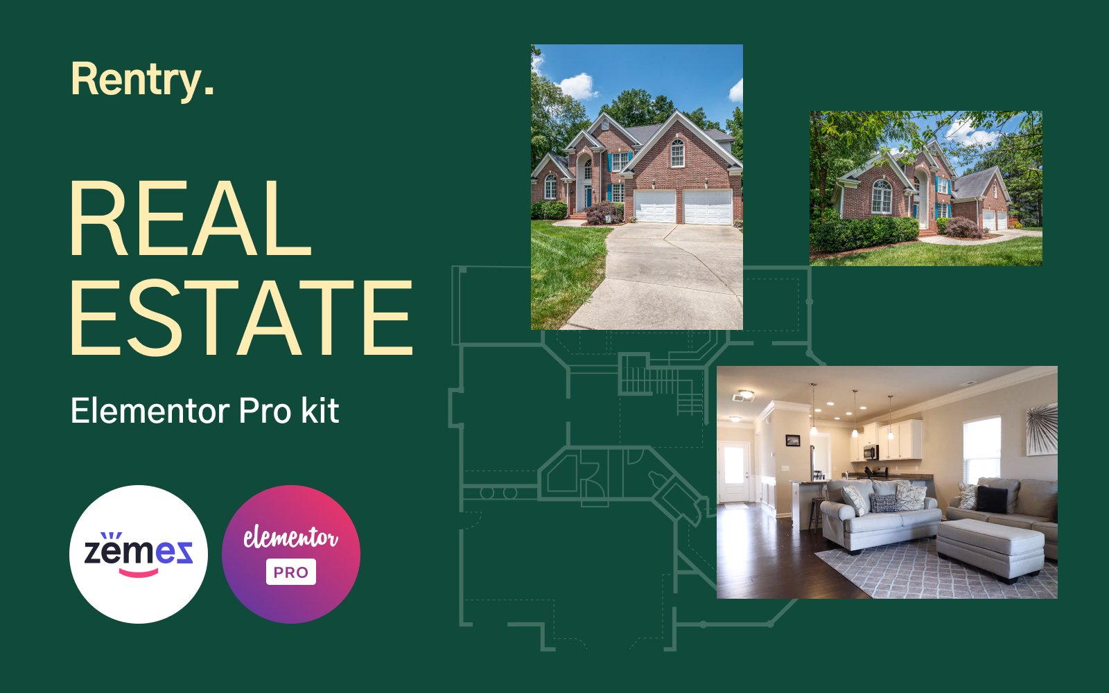 """Rentry - Elementor Pro Real Estate Templates Kit"" Responsive Elementor Template №172396"