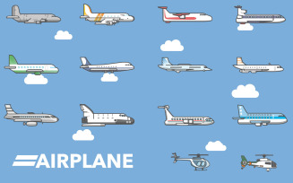 Airplane and Helicopter - Vector Images