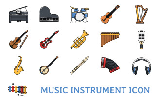 Music Instrument Iconset Template