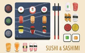 Sushi and Sashimi - Vector Images