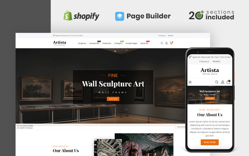 Artista - Art Gallery Store Shopify-thema