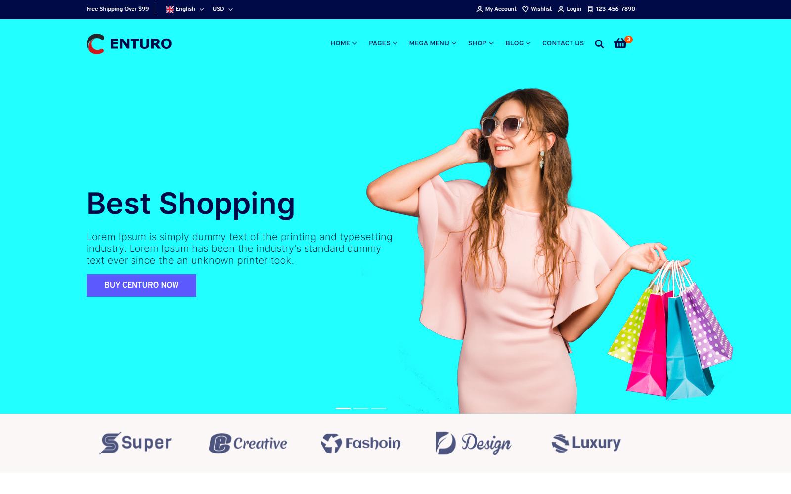 Responsivt Centuro - Multipurpose eCommerce Bootstrap 4 HTML Website template Hemsidemall #172892