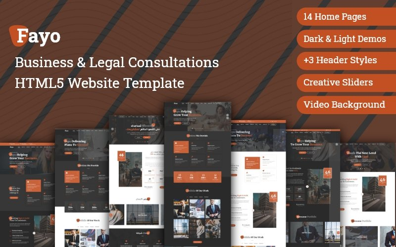 Responsivt Fayo - Business & Legal Consulting Bootstrap HTML5 Website Template Hemsidemall #172894