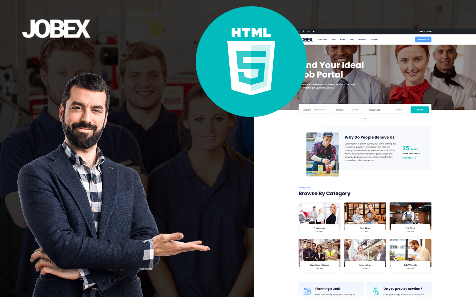 Responsivt Jobex - Job Listing HTML Template Hemsidemall #172895