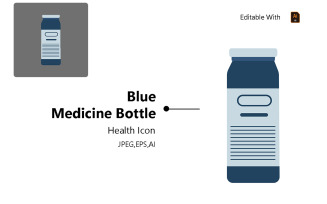 Blue Medicine Bottle - Health Icon