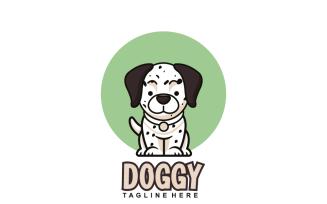 Cute Happy Dog Sitting Logo Template