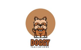 Cute Little Dog Cartoon Sitting Isolated on White Background Logo