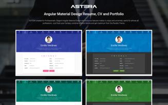 Astera - Resume, CV and Portfolio Angular Material Design Website Template