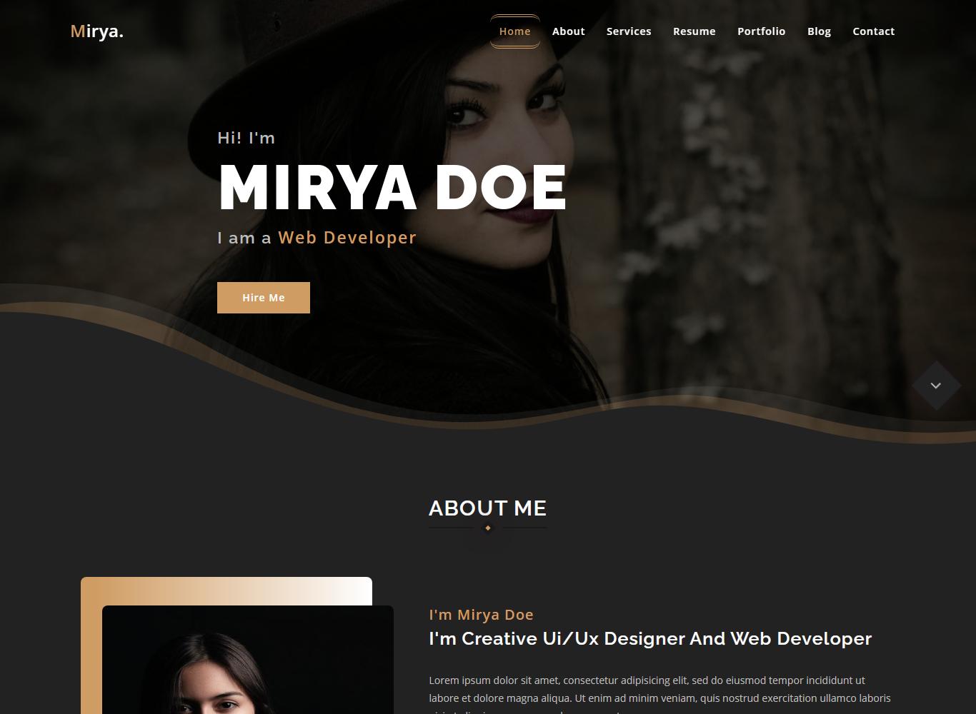 Mirya - Personal Portfolio Landing Page Template
