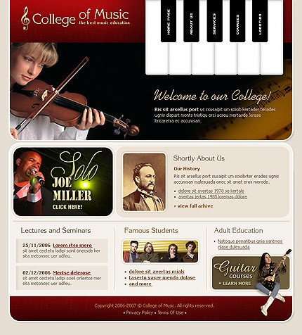 Realizare site scoala de muzica