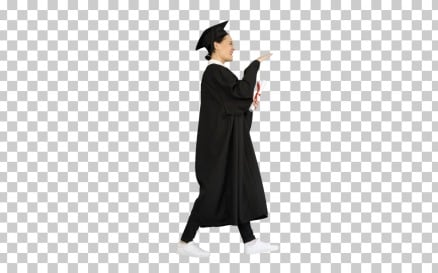 Energetic Female Graduate Walking With Diploma Video Stock Video