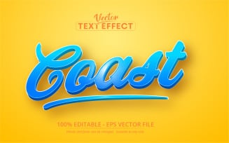 Coast Cartoon Editable Text Effect Vector