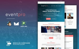 EventPro – Responsive Email for Events & Conferences with Online Builder Newsletter