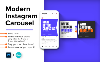 Social Media Post Carousel Photoshop & Canva Templates