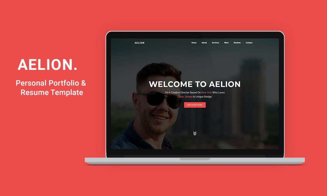 Aelion - Creative Portfolio Landing Page template