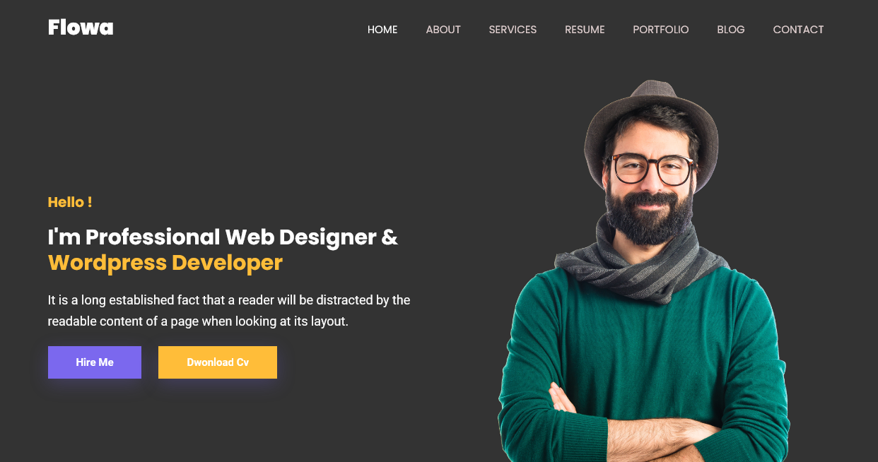 Flowa - Personal Portfolio Website Responsive Bootstrap5 Template