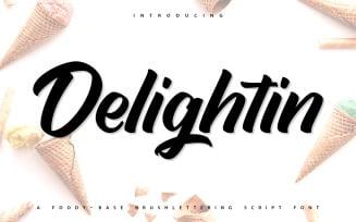 Delightin | Foody Brush Lettering Script Font
