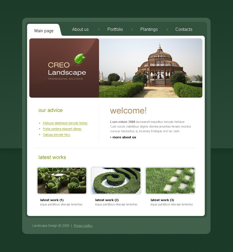 Landscape design website template 17633 by wt website for Landscape design website