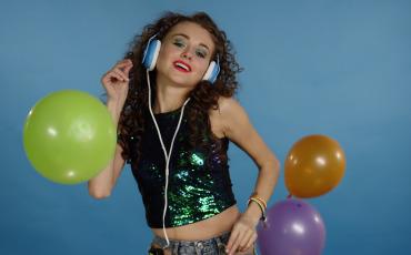 Disco Girl Dance in Headphones Stock video