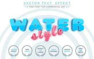 Blue Water - Editable Text Effect, Font Style FREE Illustration