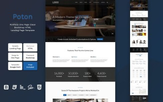 Poton – Portfolio One Page Clean Bootstrap HTML Landing Page Template