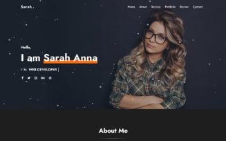 Sarah - Personal Portfolio Landing Page Template