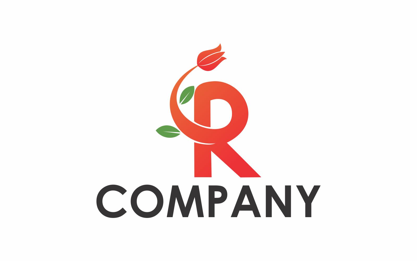Letter R bloemen Logo sjabloon