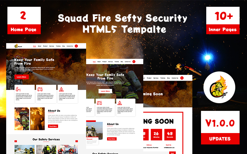 Squad-Fire Safety Security Html 5 Website template