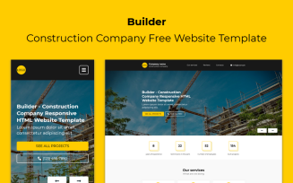 Builder - Construction Company Responsive Free Landing Page Template